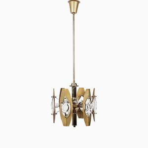 Glass & Gilt Brass Chandelier from Sciolari, 1960s