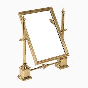 Specchio da tavolo regolabile in ottone lucidato, anni '50