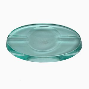 Czech Faceted Crystal Aquamarine Ashtray by Karlovy Vary for Moser, 1950s