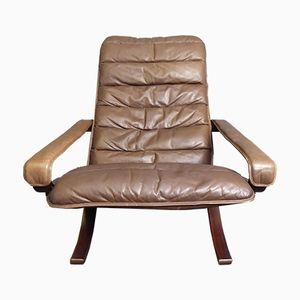 Leather Lounge Chair by Ingmar Relling for Westnofa, 1960s