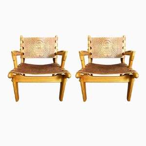 Leather Armchairs by Angel I. Pazmino for Muebles de Estilo, 1960s, Set of 2