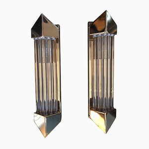 Vintage Brass and Glass Rod Wall Sconces, 1970s, Set of 2