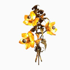 Italian Brass Flower Wall Light by P. Mas-Rossi, 1950s