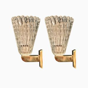 Bullicante Glass Wall Sconces from Barovier & Toso, 1930s, Set of 2