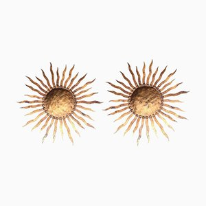 Large Wrought Iron Sunburst Wall Sconces, 1950s, Set of 2