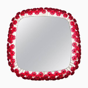 Vintage Red Flower Illuminated Mirror by Emil Stejnar for Rupert Nikoll, 1960s