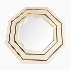 Miroir Octagonal Vintage Laqué Ivoire par Jean Claude Mahey
