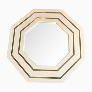 Vintage Ivory Lacquered Octagonal Mirror by Jean Claude Mahey