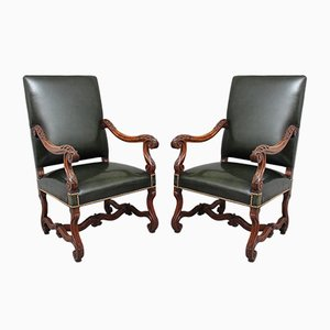 19th Century Carved Walnut Armchairs, Set of 2