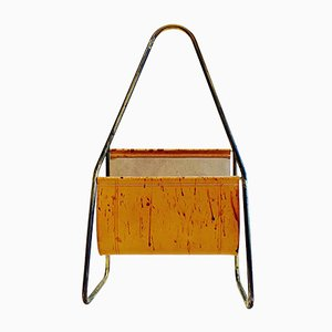 Austrian Leather & Brass Magazine Rack by Carl Auböck, 1950s