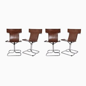 Mid-Century Italian Modern Leather & Chrome Chairs by Guido Faleschini, 1970s, Set of 4