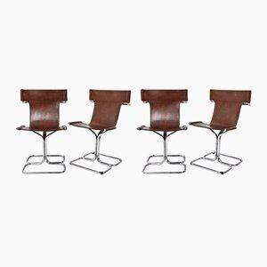 Moderne italienische Mid-Century Sessel mit Sitz aus Leder & Gestell aus verchromtem Metall von Guido Faleschini, 1970er, 4er Set