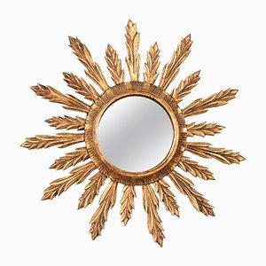 Specchio a muro in legno dorato, anni '50