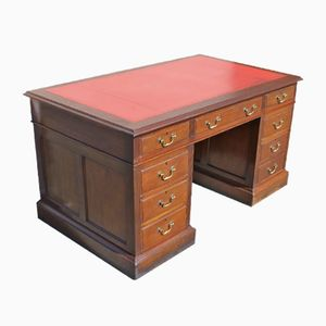Solid Mahogany Pedestal Desk with Red Leather Top, 1940s