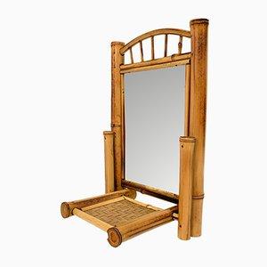 Specchio da tavolo Art Nouveau pieghevole in bambù, vimini e legno, anni '20