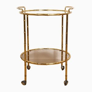 French Brass & Faux Bamboo Bar Cart from Maison Jansen, 1970s