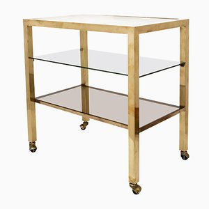 Gold-Plated Brass and Smoked Glass Bar Cart, 1970s