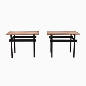 Italian Teak & Enameled Metal Benches, 1960s, Set of 2