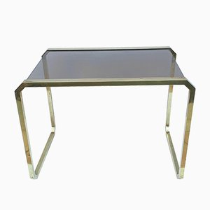 Mid-Century Italian Brass & Smoked Glass Coffee Table, 1970s