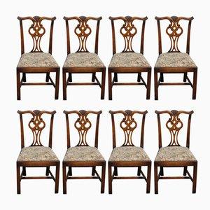 Esszimmerstühle aus Eiche mit hoher Rückenlehne, 1960er, 8er Set