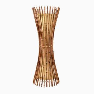 Lampada da terra Mid-Century in bambù e vimini, anni '60