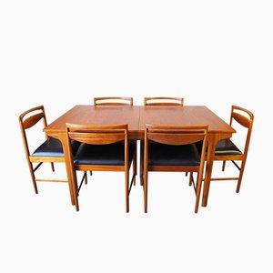 Ausziehbarer Mid-Century Esstisch & 6 Stühle aus Teak von McIntosh, 1960er