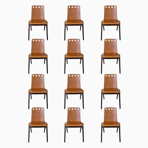 Vintage Stacking Plywood Chairs, 1950s, Set of 12