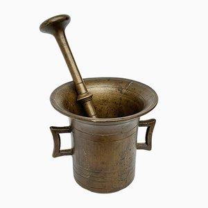 Antiker italienischer Mörser & Stößel aus Bronze