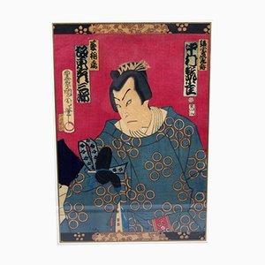 Impresión Ukiyo-e Warrior japonesa de Kawarazaki Gonjuro, década de 1880