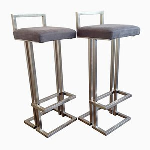 Brushed Steel Bar Stools, 1980s, Set of 2