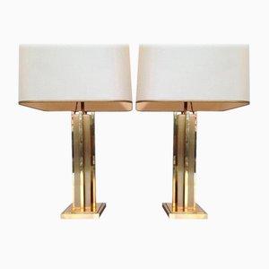 Lampade vintage in ottone di Willy Rizzo, anni '70, set di 2