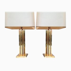 Vintage Brass Lamps by Willy Rizzo, 1970s, Set of 2