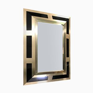 Brushed Brass and Black Lucite Mirror by Philippe Jean