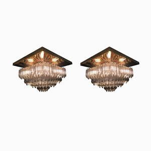 Lampade da soffitto vintage in cristallo di Venini, set di 2