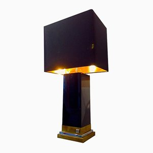 Black Lacquer, Brass & Chrome Lamp by Jean Claude Mahey, 1970s