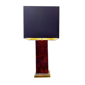 Vintage Burl Wood and Brass Table Lamp by Jean Claude Mahey