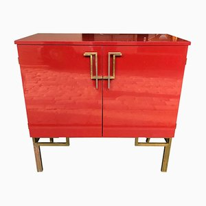 Red Lacquered Bar Cabinet with Brass Chinoiserie Detailing, 1970s