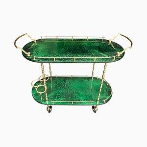 Green Goatskin Trolley by Aldo Tura, 1960s