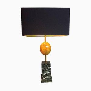 Gelbe Egg Lampe aus Harz mit Marmorsockel von Maison Charles