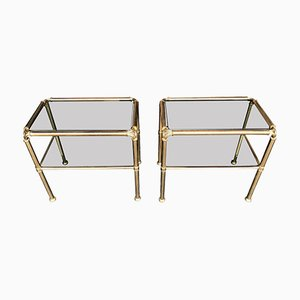 Italian Brass & Smoked Glass Side Tables, 1970s, Set of 2