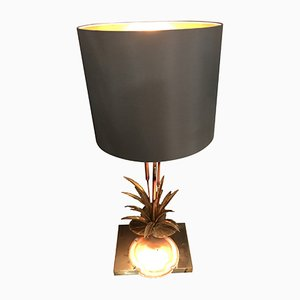 Bulrush Lamp with Underlit Agate Slice by Willy Daro