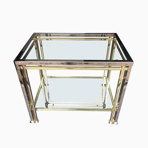 Brass and Chrome Side Table by Romeo Rega, 1970s