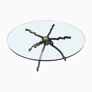 Round Iron & Brass Coffee Table by Peter Ghyczy, 1970s