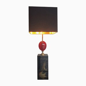 Large Red Resin Egg Table Lamp from Maison Charles, 2003