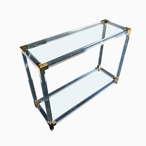 Lucite and Gilt Metal Console Table, 1970s