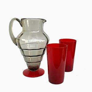 Italienische Vintage Karaffe & 2 Gläser, 1930er