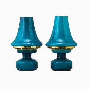 Lámparas de vidrio turquesa de Hans-Agne Jakobsson, años 60. Juego de 2