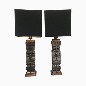 Carved Tiki Table Lamps, 1950s, Set of 2