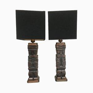 Geschnitzte Tiki Tischlampen, 1950er, 2er Set