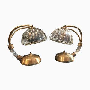 Lampade da tavolo in vetro e ottone di Barovier & Toso, anni '50, set di 2